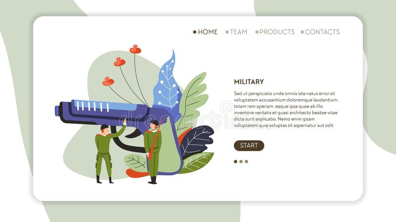 Modello militare del fucile o della pistola e della pagina Web dei soldati illustrazione vettoriale