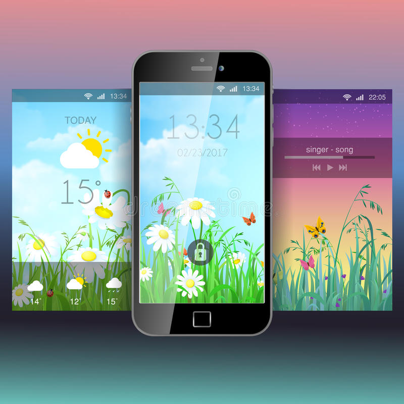 Modello mobile del modello della carta da parati del fondo di applicazione di app illustrazione vettoriale