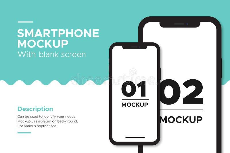 Modello mobile di iphone dell'insegna con lo schermo in bianco illustrazione di stock