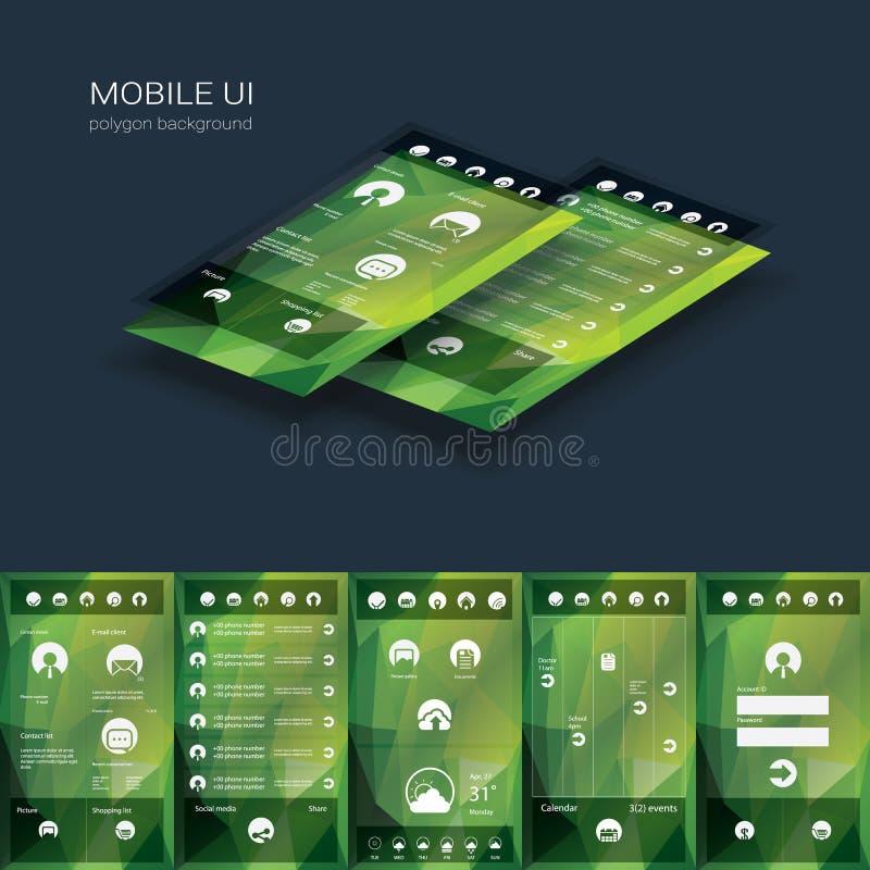 Modello mobile di vettore dell'interfaccia utente Smartphone royalty illustrazione gratis