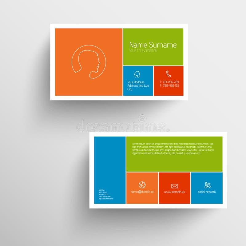 Modello moderno del biglietto da visita con l'interfaccia utente mobile piana illustrazione di stock