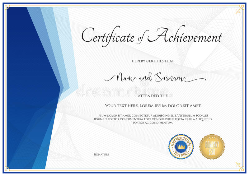 Modello moderno del certificato per il risultato, apprezzamento, parti illustrazione vettoriale