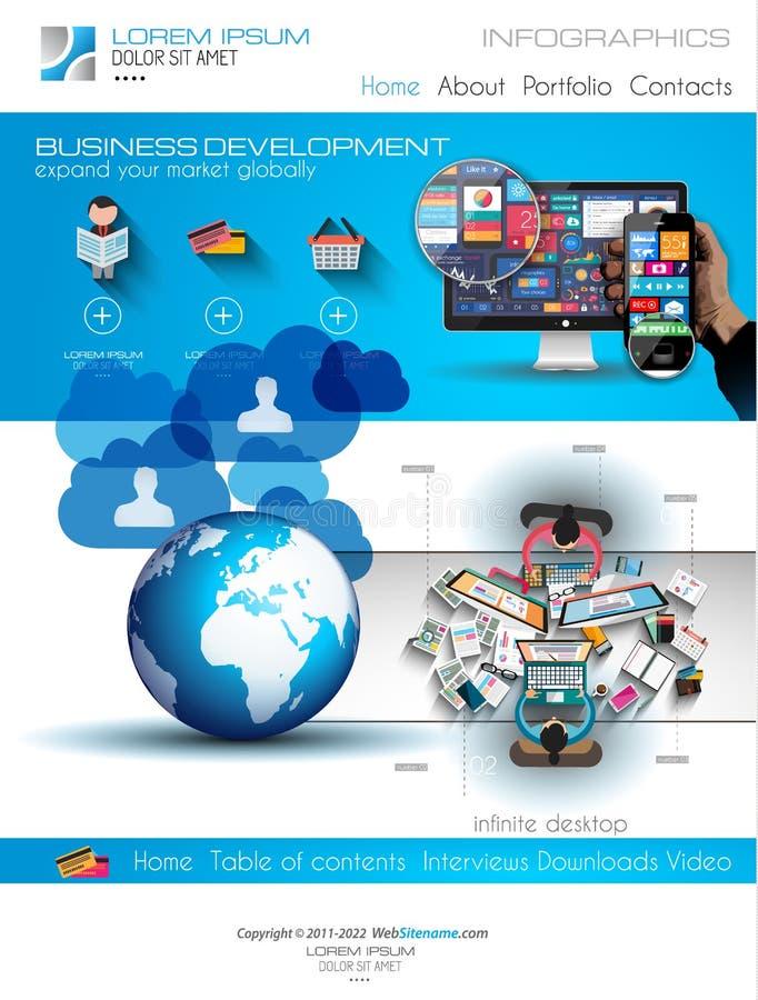 Modello moderno del sito Web con la disposizione piana di infographics di stile illustrazione di stock