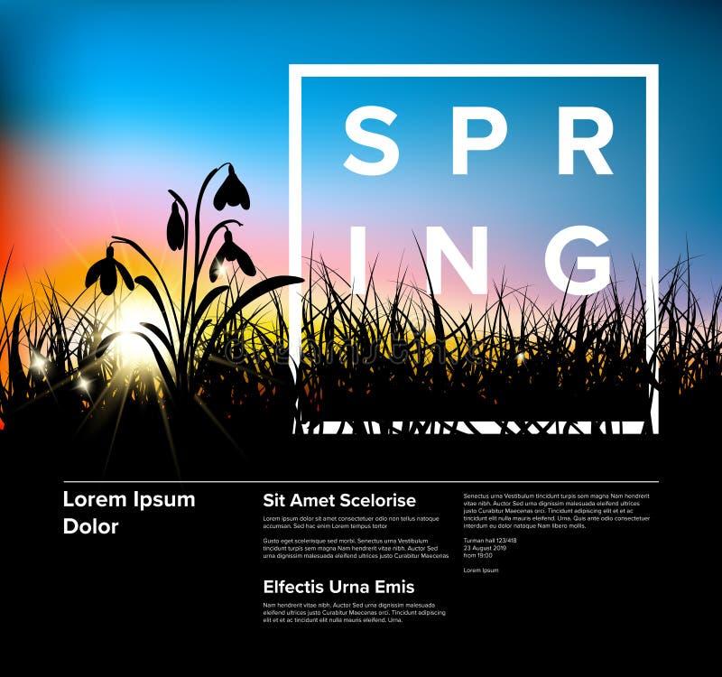 Modello moderno dell'aletta di filatoio di alba dell'erba di vettore della primavera illustrazione vettoriale