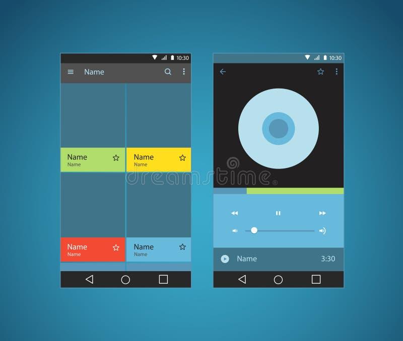 Modello moderno dell'interfaccia del giocatore dello smartphone illustrazione vettoriale