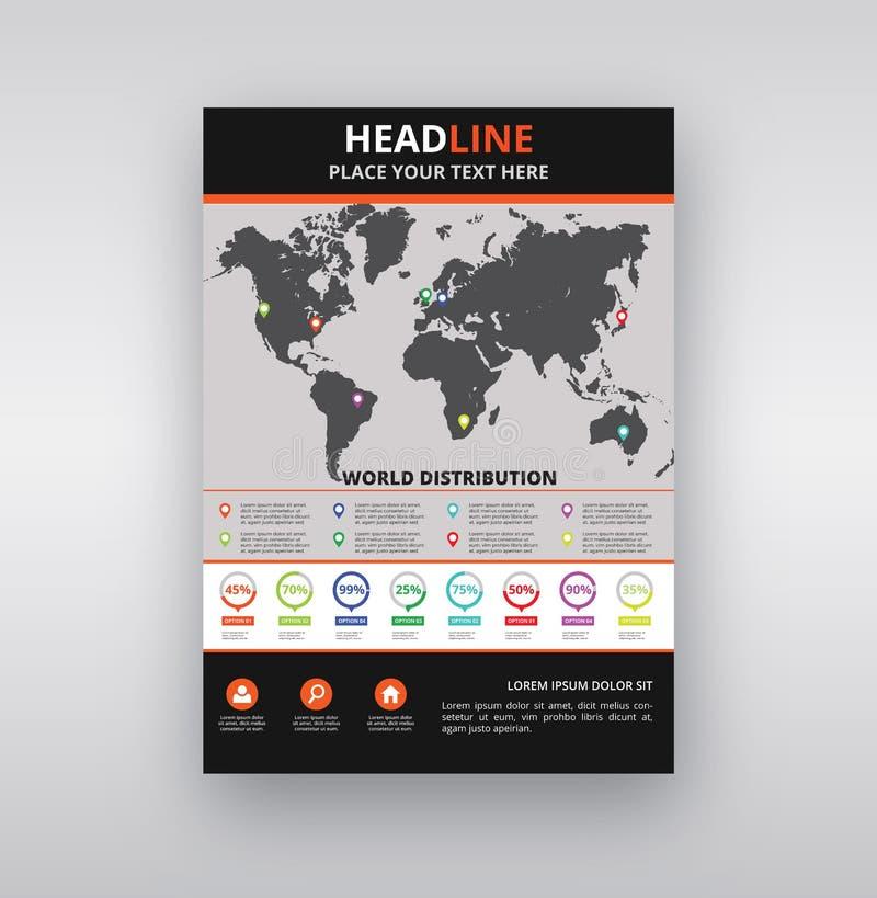 Modello moderno di progettazione aletta di filatoio/dell'opuscolo con Infographic immagine stock libera da diritti
