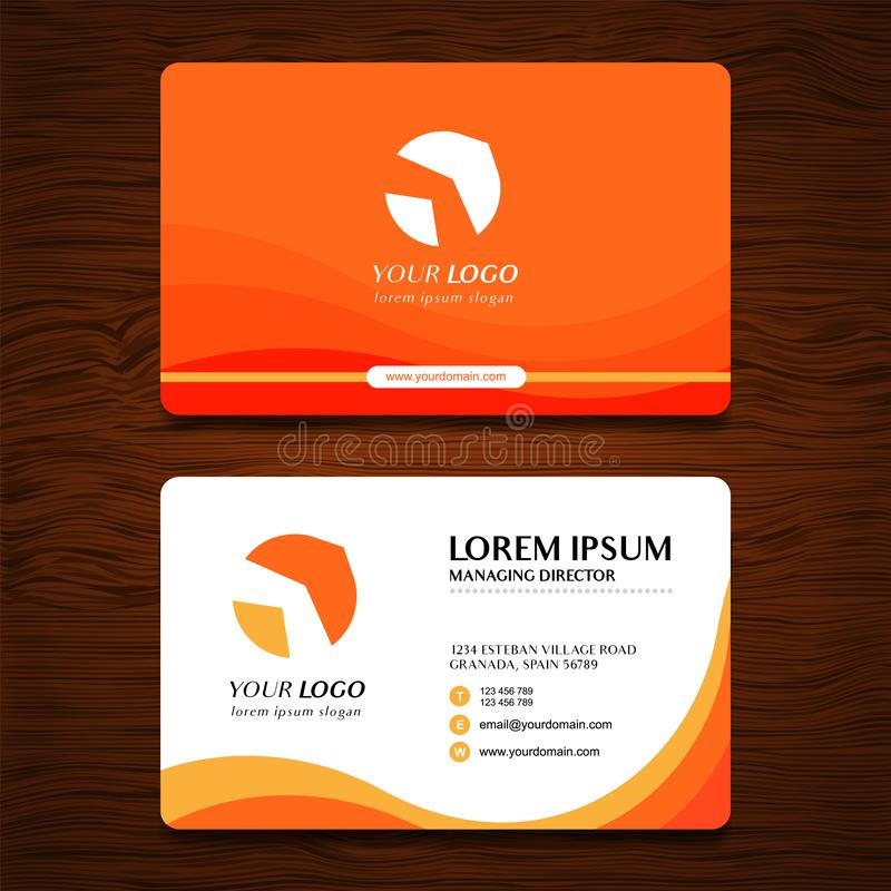 Modello moderno di progettazione di biglietto da visita delle onde con fondo di legno royalty illustrazione gratis