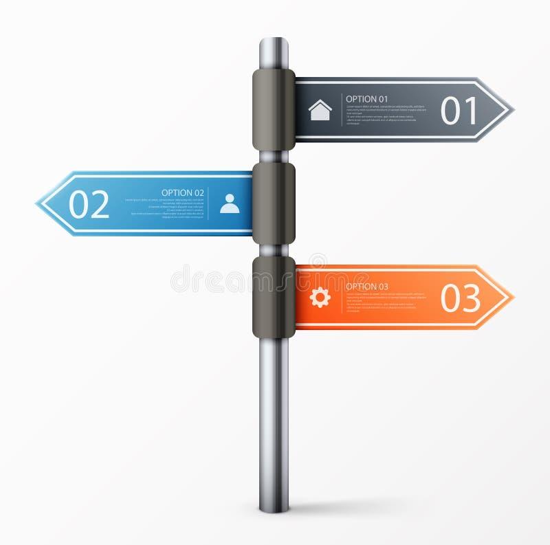 Modello moderno di progettazione del segnale stradale per il infographics royalty illustrazione gratis