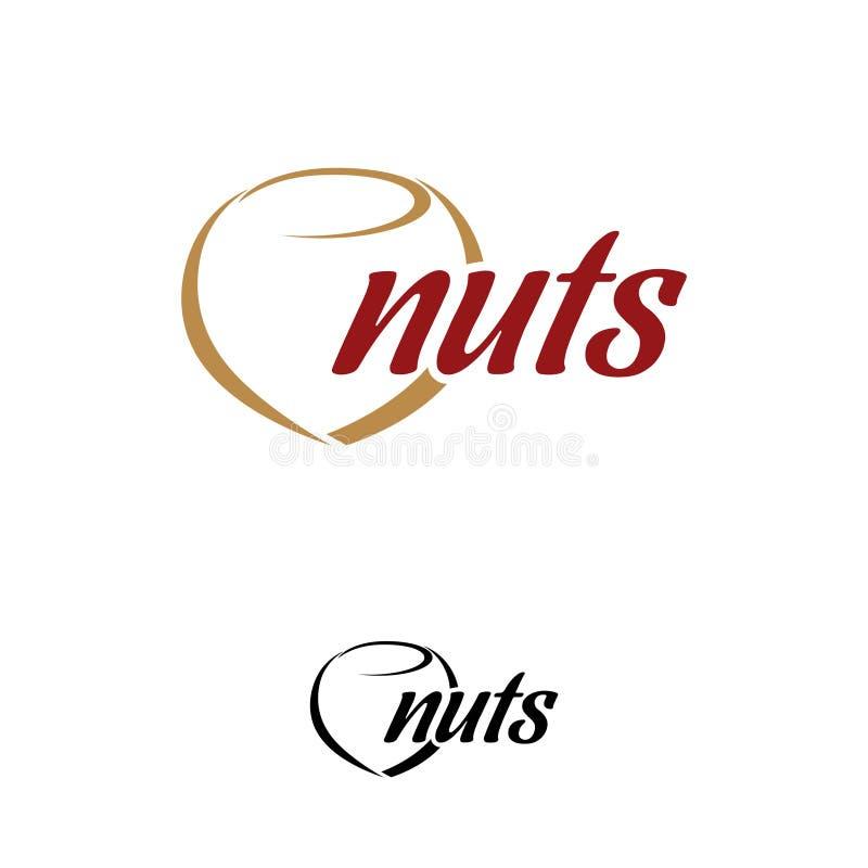 Modello moderno di progettazione di logo delle nocciole illustrazione di stock