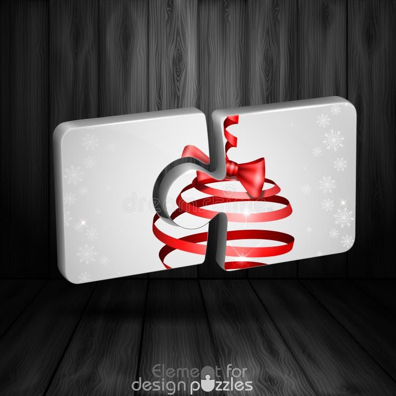 Modello moderno di puzzle con l'arco del nastro di Natale royalty illustrazione gratis