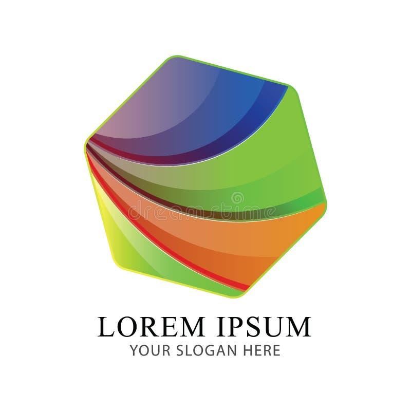 Modello moderno di vettore di progettazione di Logo Identity Beautiful Brand del cubo dell'estratto illustrazione vettoriale