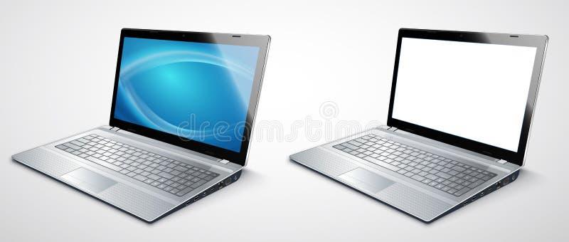 Modello moderno realistico del computer portatile per il vettore di presentazioni illustrazione vettoriale