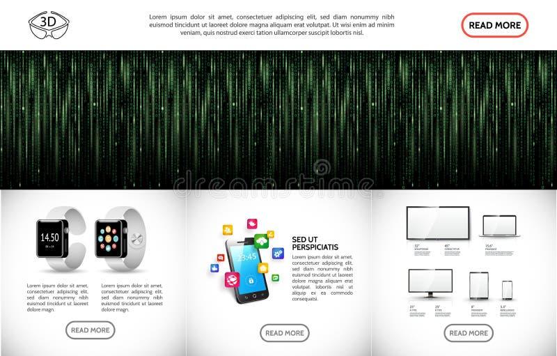 Modello moderno realistico di Technologic illustrazione di stock