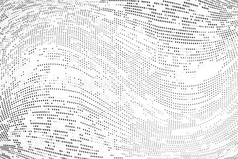 Modello monocromatico astratto del semitono di lerciume Illustrazione di vettore con i punti Fondo futuristico urbano moderno royalty illustrazione gratis