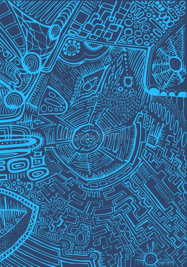 Modello monocromatico e astratto, contorno blu-chiaro su un blu illustrazione vettoriale