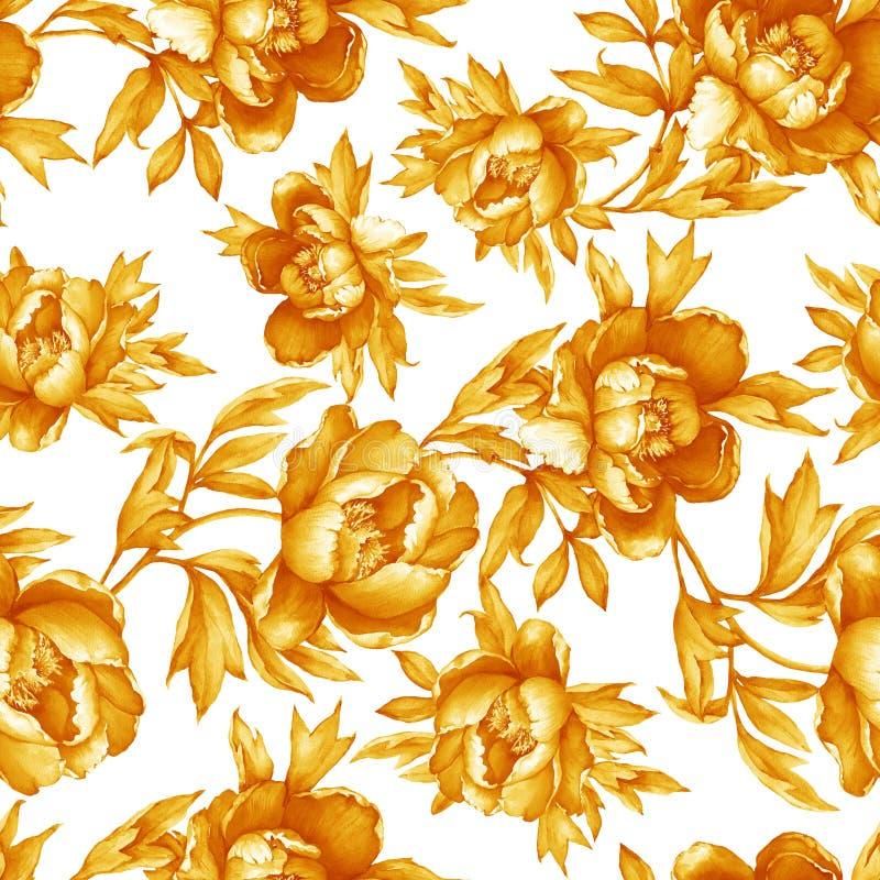 Modello monocromatico giallo senza cuciture floreale d'annata con le peonie di fioritura, su fondo bianco Illu disegnato a mano d illustrazione di stock