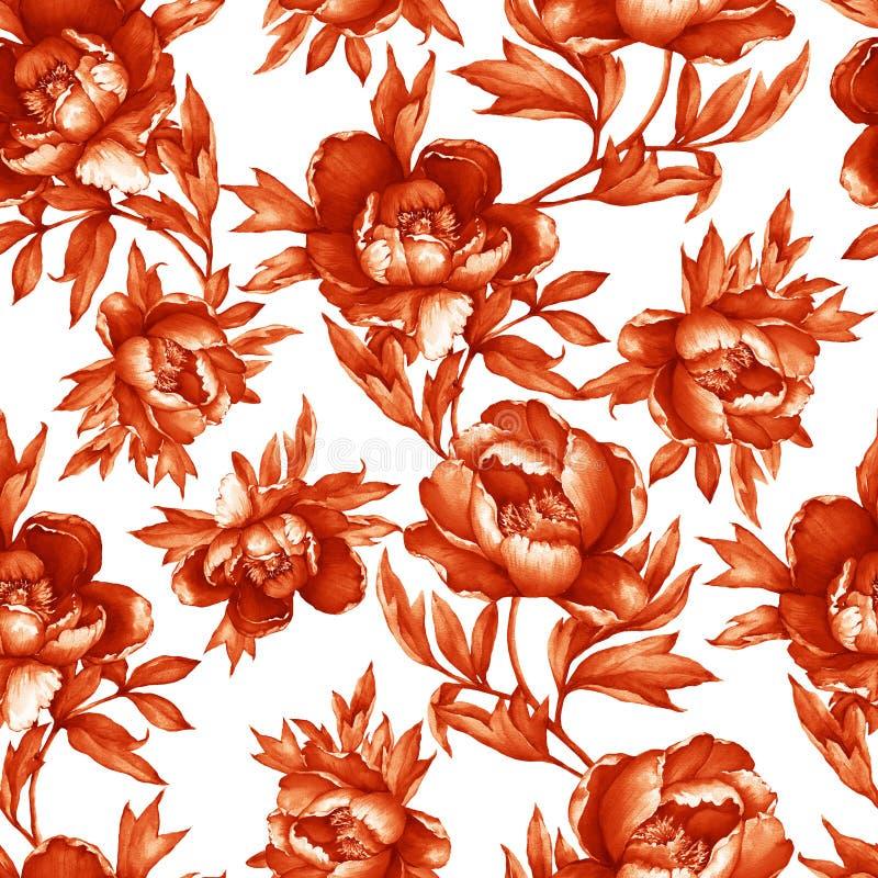 Modello monocromatico marrone-rosso senza cuciture floreale d'annata con le peonie di fioritura, su fondo bianco Pittura disegnat illustrazione vettoriale