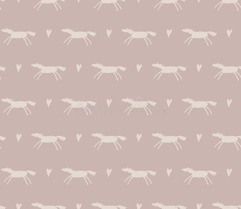 Modello monocromatico senza cuciture dei cavalli di scarabocchio fotografie stock libere da diritti