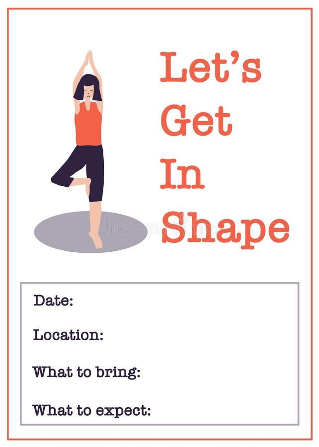 Modello motivazionale del manifesto della classe di yoga Illustrazione di vettore della classe di forma fisica delle donne della  royalty illustrazione gratis