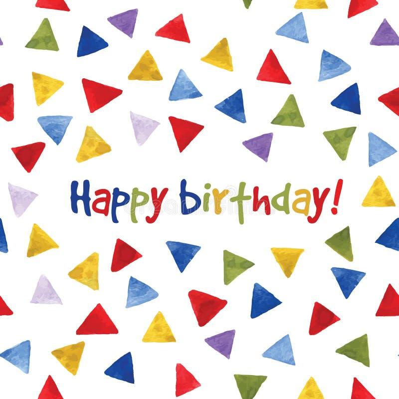 Modello multicolore dei triangoli dell'acquerello Biglietto di auguri per il compleanno nel vettore royalty illustrazione gratis