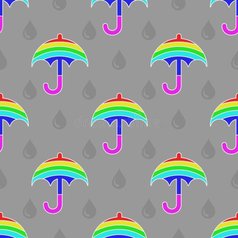 Modello multicolore senza cuciture dell'ombrello con le gocce di pioggia illustrazione di stock