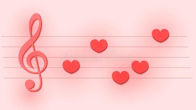Modello musicale astratto con la chiave tripla e le note come cuori per nozze o la carta di San Valentino illustrazione vettoriale