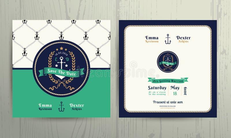 Modello nautico d'annata della carta dell'invito di nozze della corona dell'ancora royalty illustrazione gratis