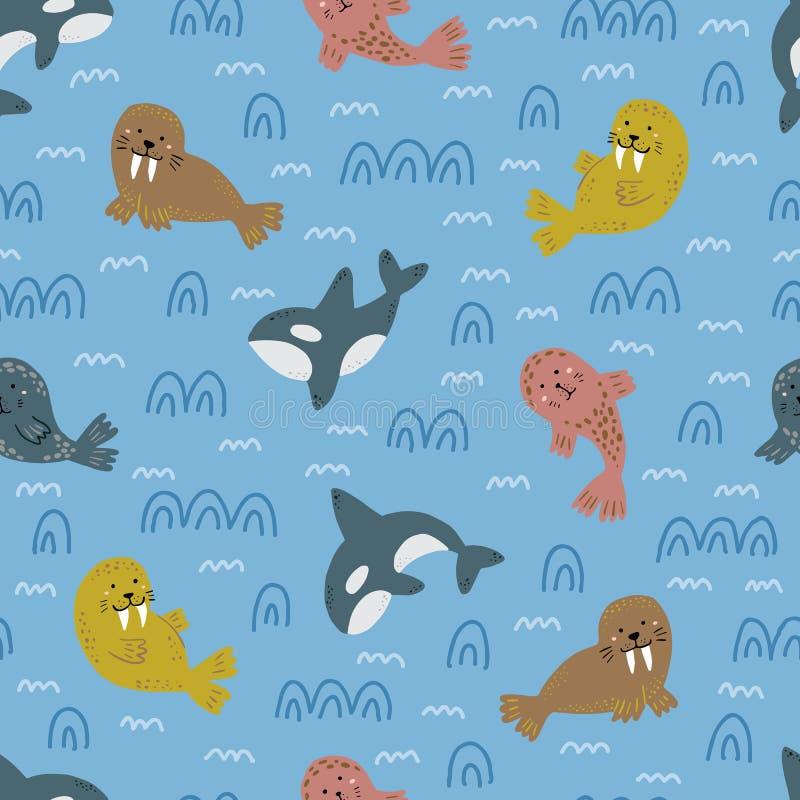 Modello nautico puerile Disegno sveglio degli animali Fauna selvatica artica Illustrazione di vettore immagini stock
