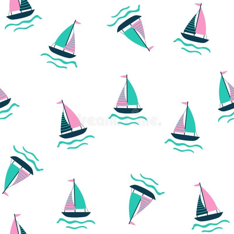 Modello nautico senza cuciture con la nave di navigazione illustrazione di stock