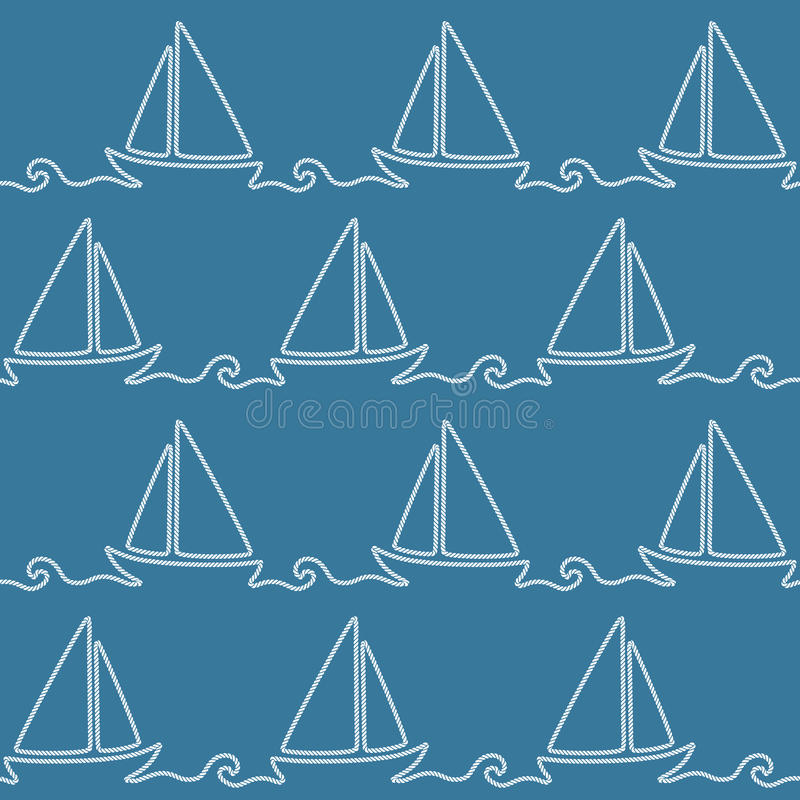 Modello nautico senza cuciture della corda illustrazione di stock