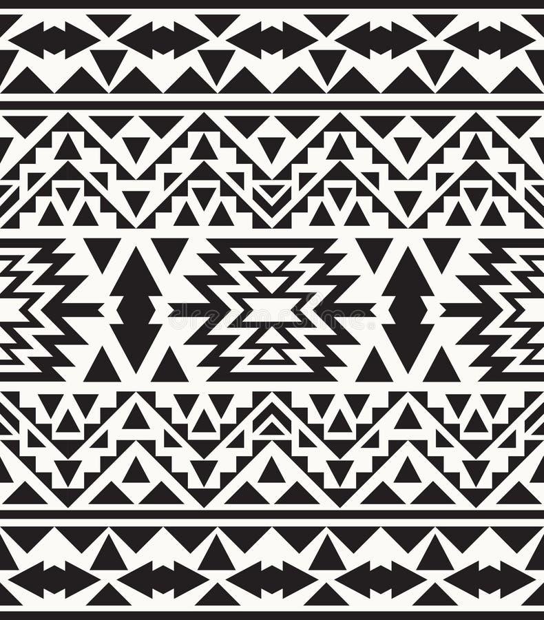 Modello navajo in bianco e nero senza cuciture, illustrazione di vettore illustrazione vettoriale