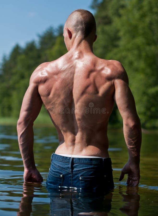 Modello nel lago fotografie stock