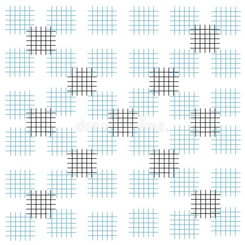 Modello nero bianco blu dei quadrati dei colpi del fondo royalty illustrazione gratis