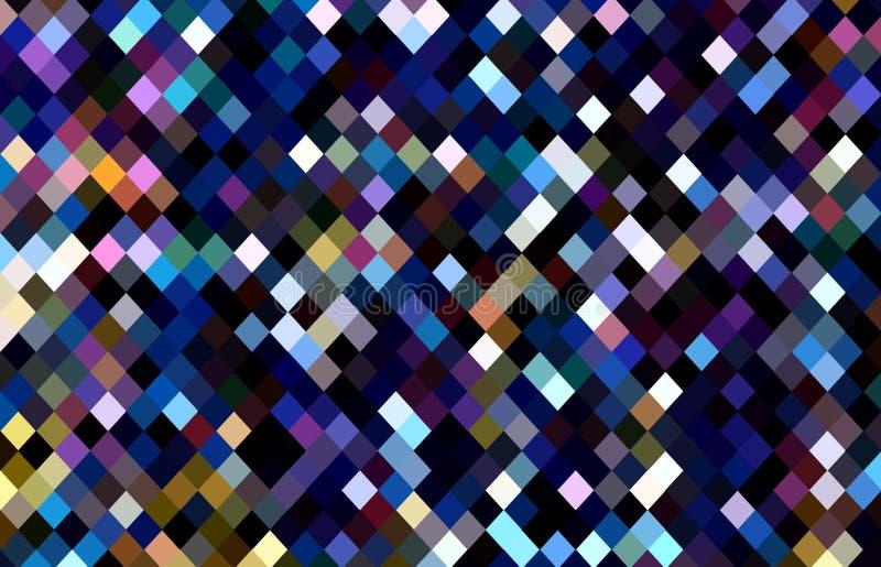Modello nero bianco porpora dei pixel della viola blu Fondo luminoso e scuro del mosaico dei cristalli Tendenza creativa della ca illustrazione vettoriale