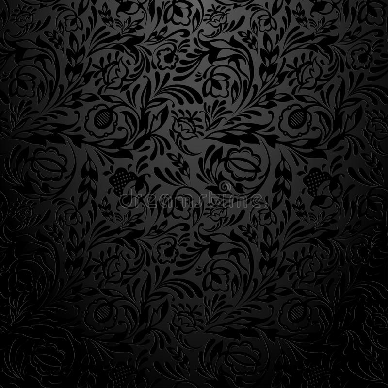 Modello nero della carta da parati floreale illustrazione vettoriale