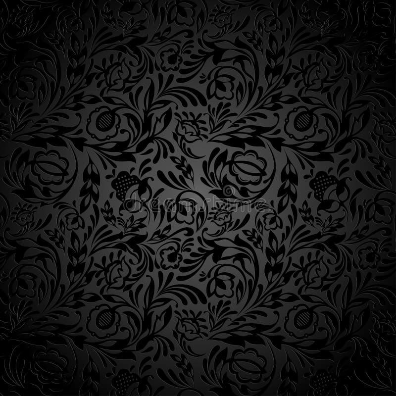 Modello nero della carta da parati floreale illustrazione di stock