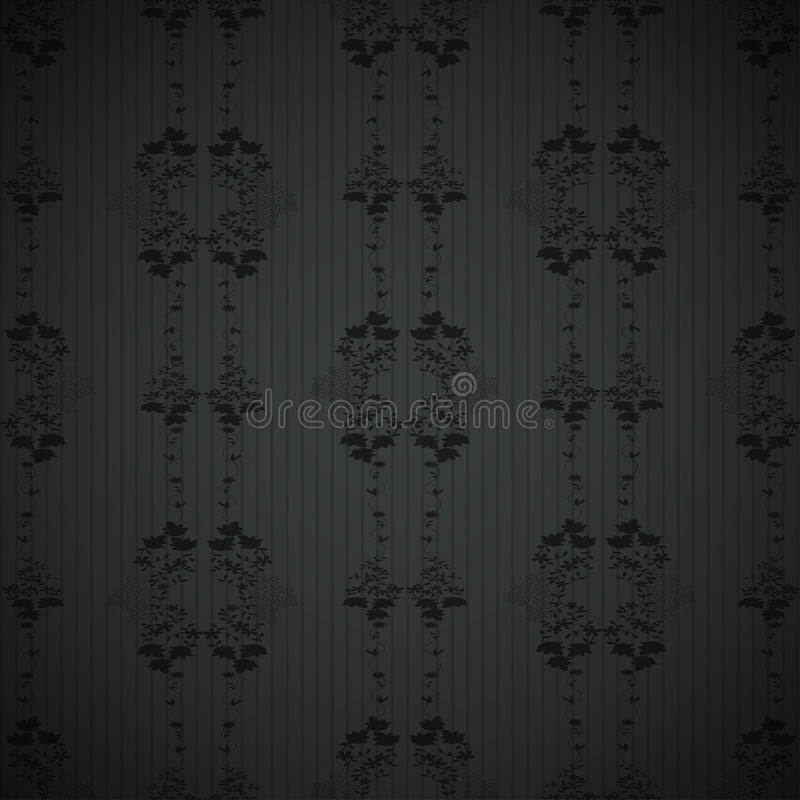 Modello nero della carta da parati floreale royalty illustrazione gratis