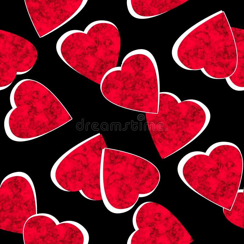 Modello nero di biglietti di S. Valentino dei cuori rossi senza cuciture di giorno illustrazione vettoriale
