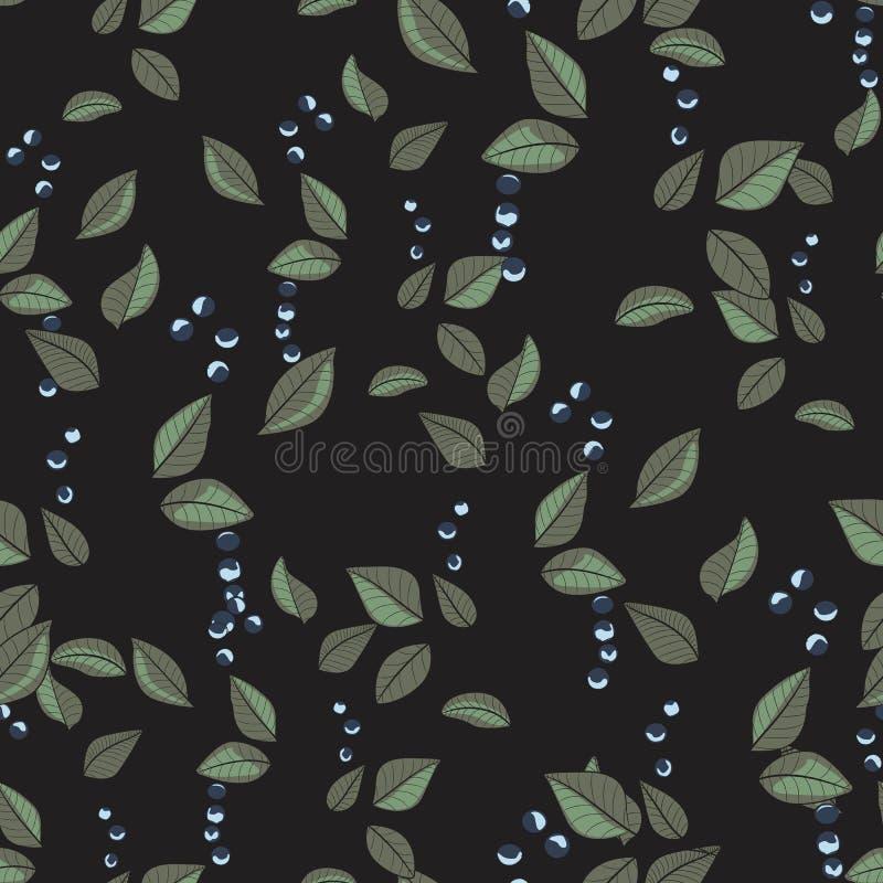 Modello nero floreale con le foglie e le bacche Fondo senza cuciture dell'erba del ramo ornamentale della foglia illustrazione di stock