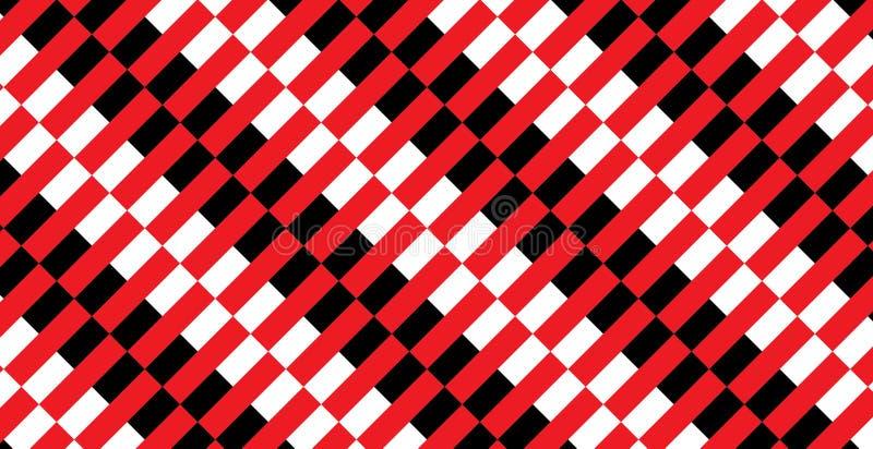 Modello nero, rosso e bianco del percalle del mattone refrattario Struttura dal per-plaid del rombo, tovaglie, camice, vestiti, c illustrazione di stock