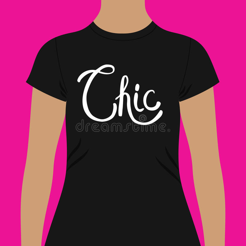 Modello nero semplice della camicia con testo elegante royalty illustrazione gratis