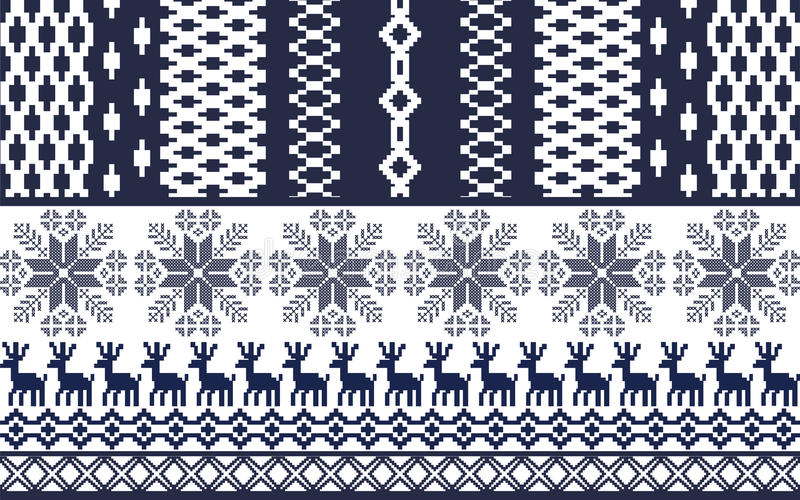 Modello nordico blu e bianco illustrazione vettoriale