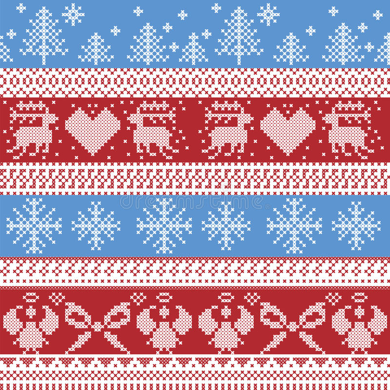 Modello nordico blu e rosso di inverno di Natale con la renna, conigli, alberi di natale, angeli, arco nel punto scandinavo dell' illustrazione di stock