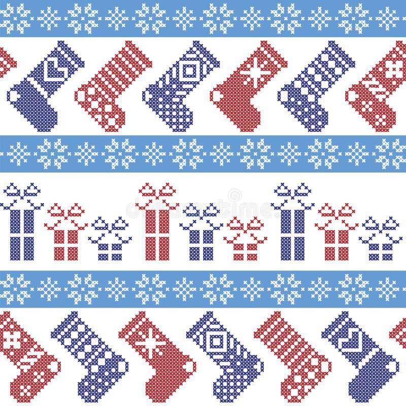 Modello nordico blu scuro, blu-chiaro e rosso di Natale con le calze, stelle, fiocchi di neve, presente, ornamenti decorativi in  illustrazione di stock