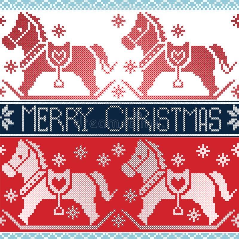 Modello nordico senza cuciture scandinavo di Buon Natale rosso e blu scuro e della luce con i cavalli d'oscillazione del cavallin illustrazione vettoriale
