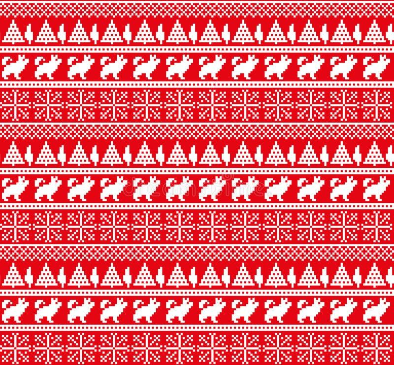 Modello norvegese festivo senza cuciture del pixel dell'inverno del nuovo anno di Natale - stile scandinavo illustrazione di stock
