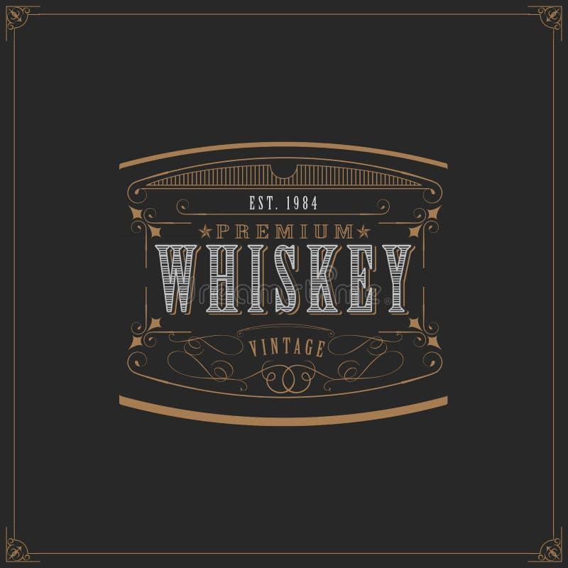 modello occidentale di progettazione per l'etichetta del whiskey illustrazione di stock