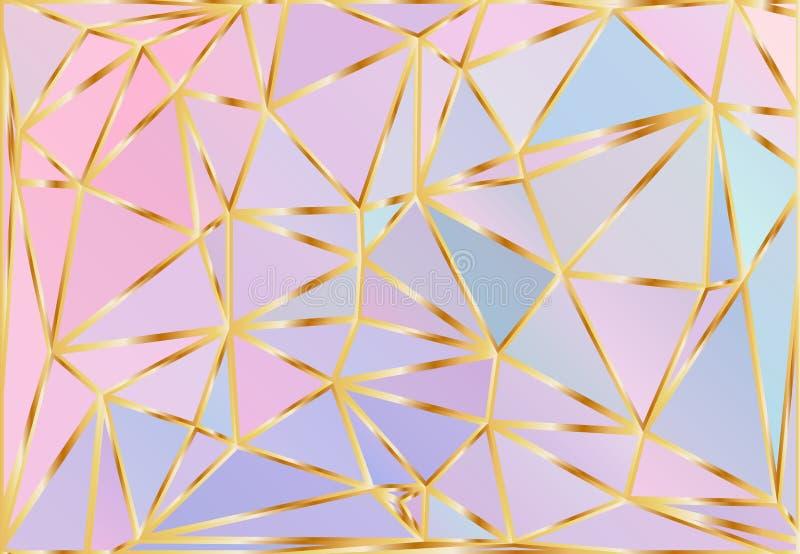 Modello olografico di vettore del triangolo di pendenza Fondo poligonale scintillante iridescente Blu di fantasia, rosa, Aqua Pur illustrazione di stock