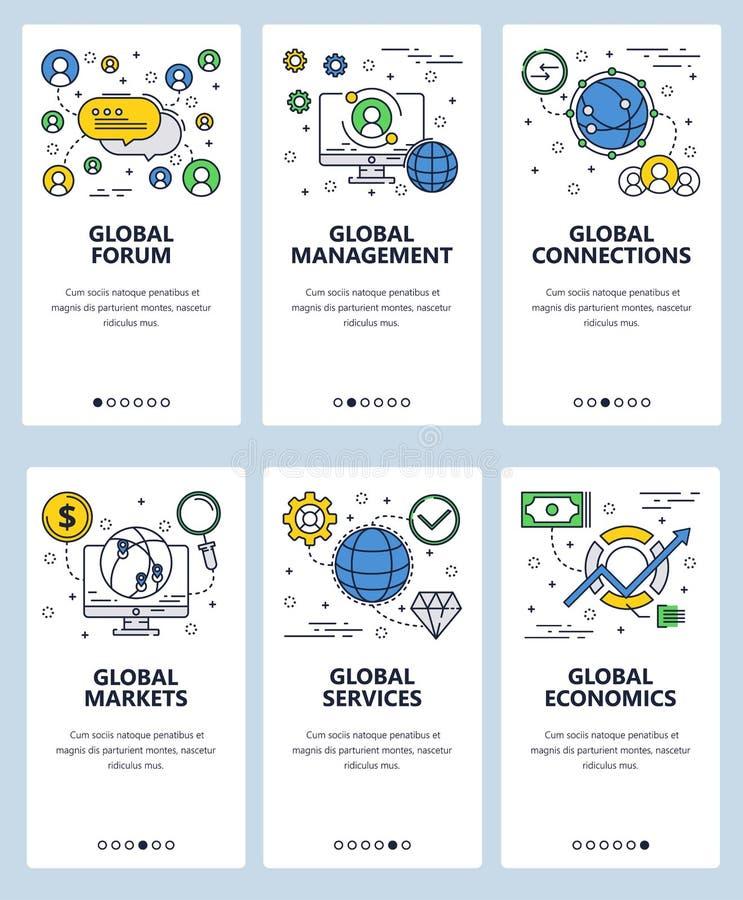 Modello onboarding degli schermi di arte lineare del sito Web di vettore Rete globale di affari e del forum Insegne del menu per  illustrazione di stock