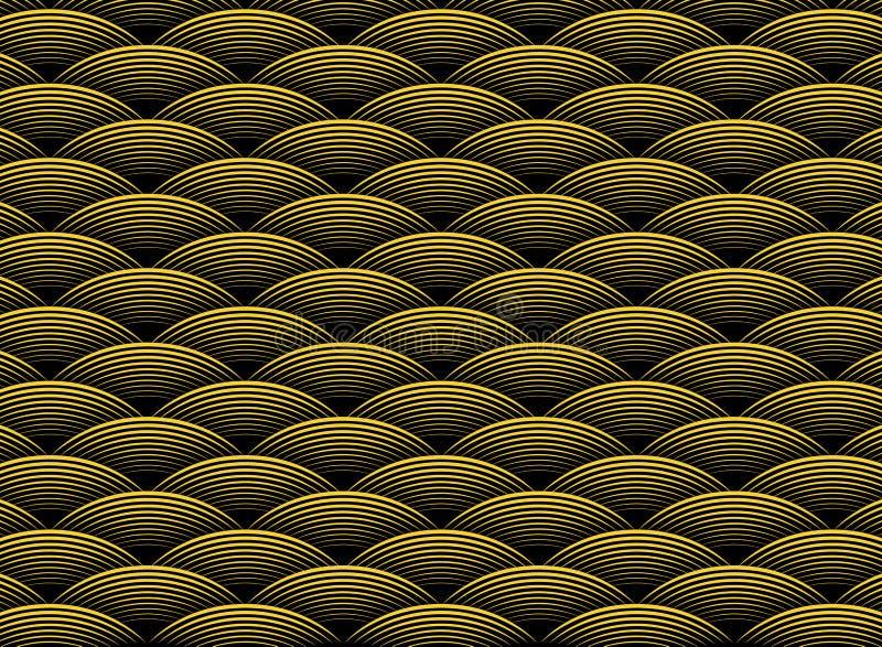 Modello ondulato dorato di lusso di progettazione dell'estratto su fondo nero dell'art deco Vettore eps10 dell'illustrazione royalty illustrazione gratis